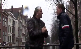 Cocksucking amsterdam whore sprayed with cum