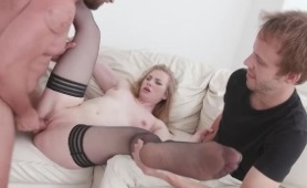 Horny Wife Holds Her Cuckolds Hand While Getting Her Ass Pounded